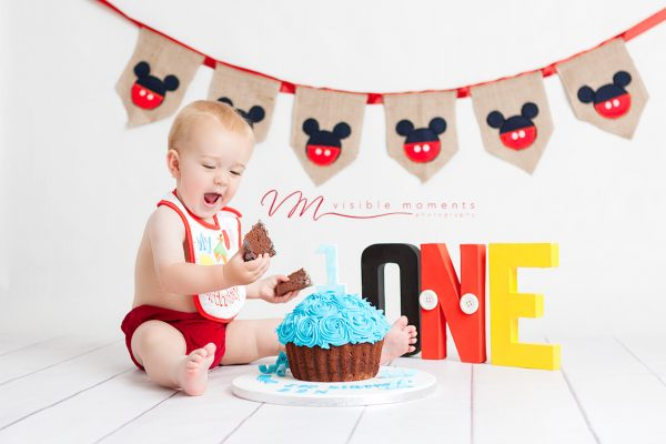 first birthday boy cake smash mickey mouse dublin photography