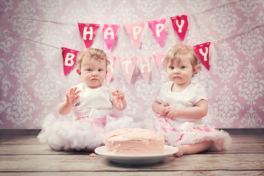 cake smash girl first birthday twins dublin photographer