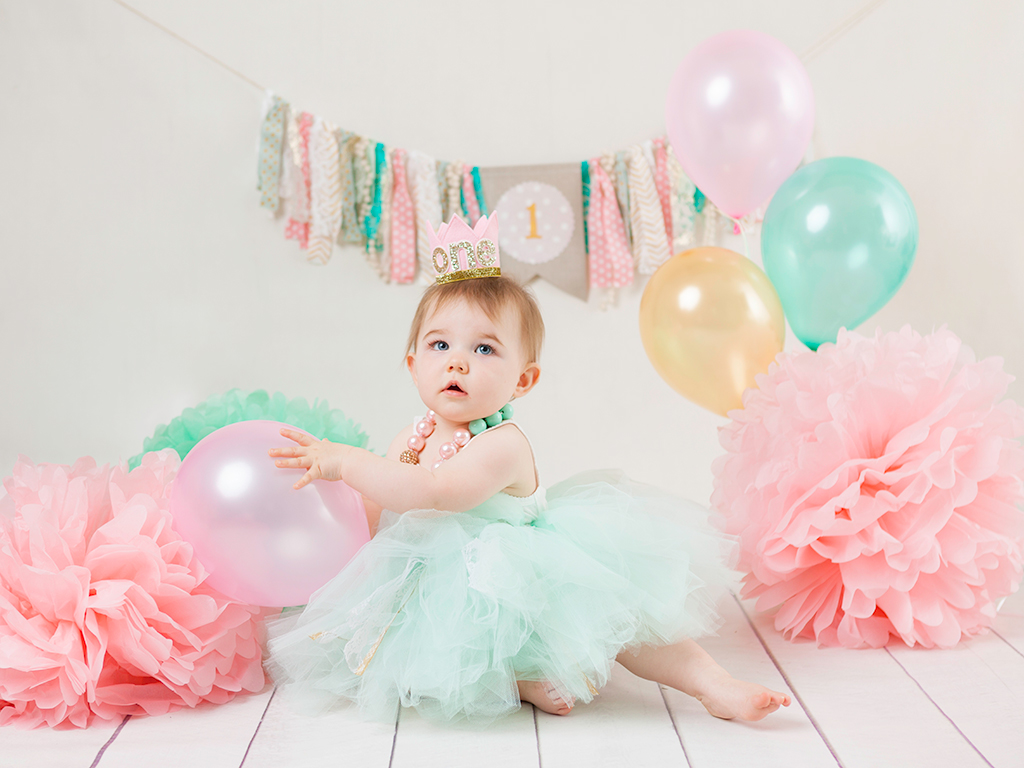 baby girl in tutu dress mint and pink photo session dublin photographers