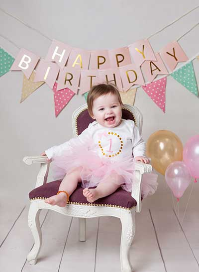 one year old baby girl birthday image