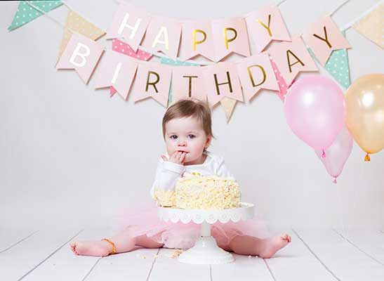 first birthday images baby girl